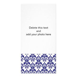 Navy Blue, White Vintage Damask Pattern 2 Photo Cards