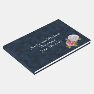 Navy Blue White Vintage Floral Wedding Guestbook