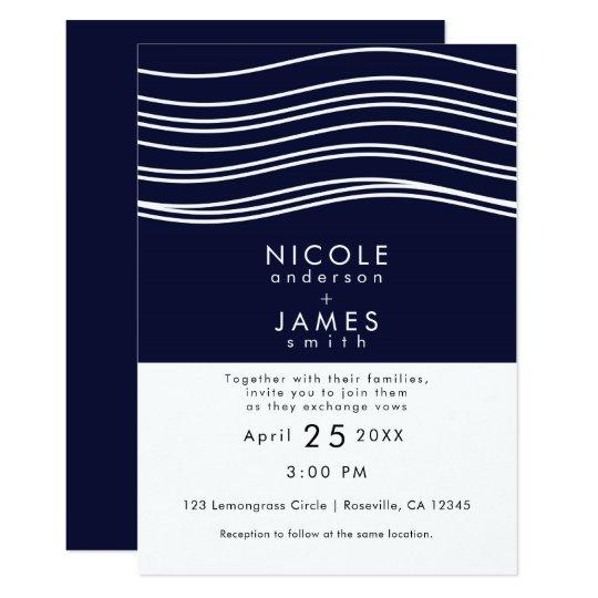 Navy Blue & White Wave Modern Wedding Card