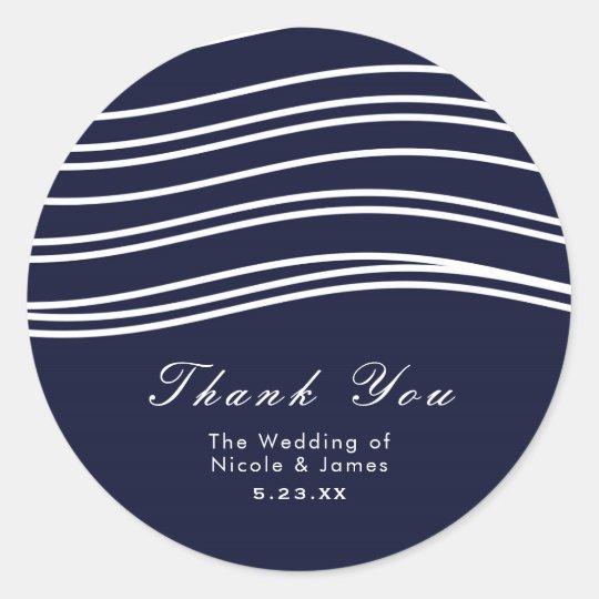 Navy Blue & White Wave Modern Wedding Classic Round Sticker