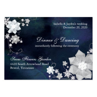 Navy Blue & White Wedding Reception (3.5x2.5) Business Card Template