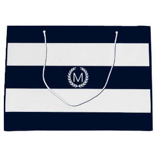 Navy Blue & White Wide Stripe with Monogram Large Gift Bag