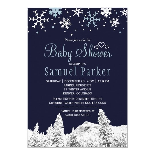 Navy blue white wonderland winter baby shower card