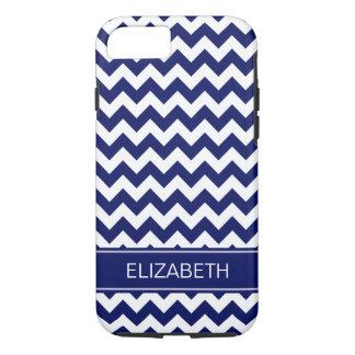 Navy Blue Wht Chevron Zigzag 7P Navy Name Monogram iPhone 7 Case