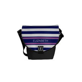 Navy Blue Wht Horiz Stripe Hot Pink Name Monogram Courier Bag