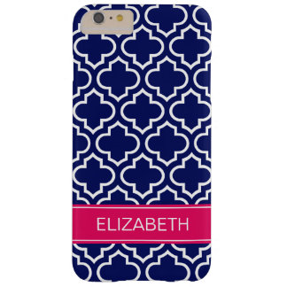 Navy Blue Wht Moroccan #6 Raspberry Name Monogram Barely There iPhone 6 Plus Case