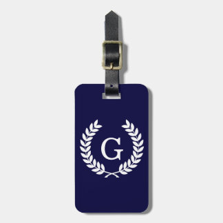 Navy Blue Wht Wheat Laurel Wreath Initial Monogram Luggage Tag