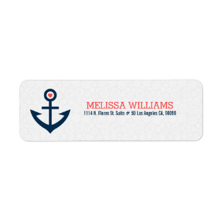 Navy-Blue With Coral-Red Nautical Boat Anchor Return Address Label