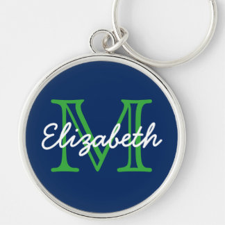 Navy Blue With Green and White Monogram Silver-Colored Round Keychain