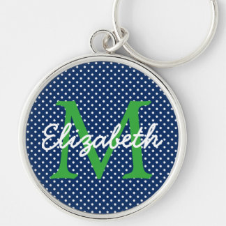 Navy Blue With Green and White Polka Dot Monogram Silver-Colored Round Keychain