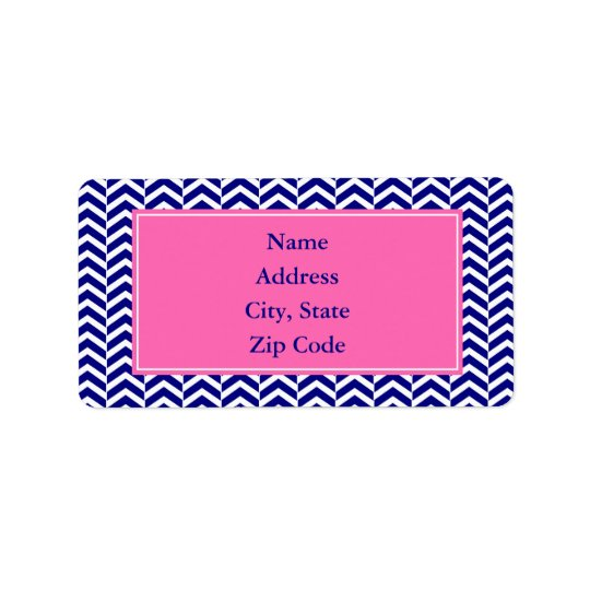Navy Blue with Hot Pink Chevron Pattern