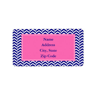 Navy Blue with Hot Pink Chevron Pattern Label