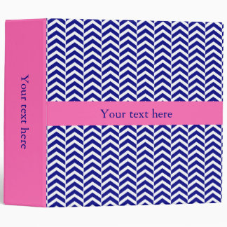 Navy Blue with Hot Pink Chevron Pattern Vinyl Binders