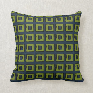 Navy Blue with Moss Green Boxes Squares Throw Pillow