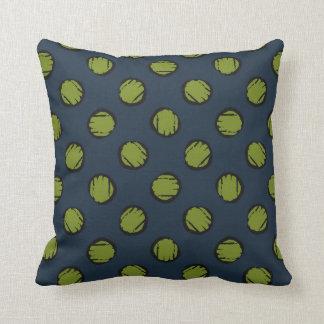 Navy Blue with Moss Green Circles / Dots Throw Pillow