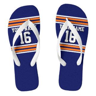 Navy Blue with Orange White Stripes Team Jersey Flip Flops