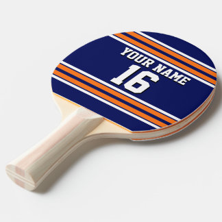Navy Blue with Orange White Stripes Team Jersey Ping-Pong Paddle