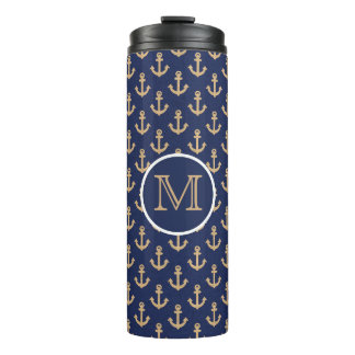 Navy Blue with Tan Anchors Nautical Thermal Tumbler