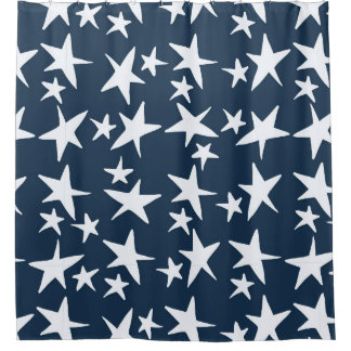 Navy Blue with White Stars Shower Curtain