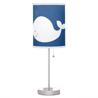 Navy Blue with White Whale Nursery Lamp