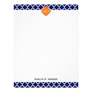 Navy Blue Wt Chevron Pumpkin Quatrefoil 3 Monogram Custom Letterhead