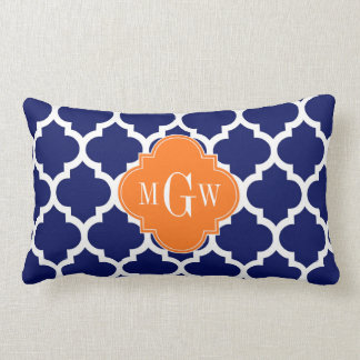 Navy Blue Wt Chevron Pumpkin Quatrefoil 3 Monogram Lumbar Pillow