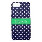 Navy Blue Wt Polka Dot Emerald Green Name Monogram Case-Mate iPhone Case