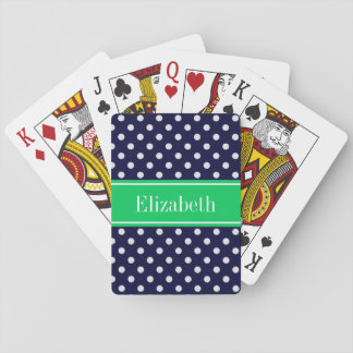 Navy Blue Wt Polka Dot Emerald Green Name Monogram Playing Cards