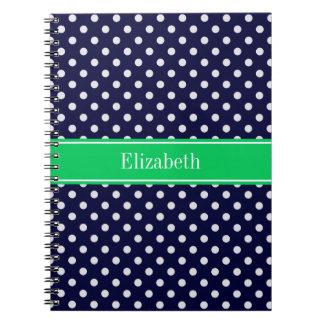 Navy Blue Wt Polka Dot Emerald Green Name Monogram Spiral Notebook