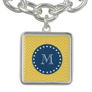Navy Blue, Yellow Chevron Pattern | Your Monogram Charm Bracelet