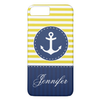 Navy Blue Yellow Pattern Anchor Personalized iPhone 7 Plus Case