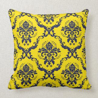 Navy Blue & Yellow Vintage Floral Damasks Throw Pillow