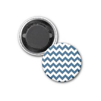 Navy Blue Zigzag Stripes Chevron Pattern 1 Inch Round Magnet