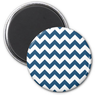 Navy Blue Zigzag Stripes Chevron Pattern 2 Inch Round Magnet
