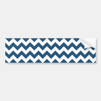 Navy Blue Zigzag Stripes Chevron Pattern Bumper Sticker