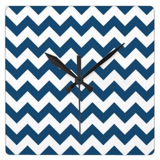 Navy Blue Zigzag Stripes Chevron Pattern Clocks