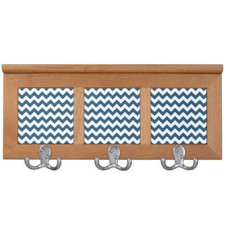 Navy Blue Zigzag Stripes Chevron Pattern Coat Racks