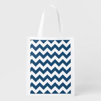 Navy Blue Zigzag Stripes Chevron Pattern Grocery Bags