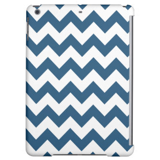 Navy Blue Zigzag Stripes Chevron Pattern iPad Air Cases