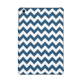Navy Blue Zigzag Stripes Chevron Pattern iPad Mini Cover