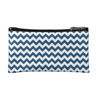 Navy Blue Zigzag Stripes Chevron Pattern Makeup Bag