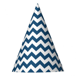 Navy Blue Zigzag Stripes Chevron Pattern Party Hat