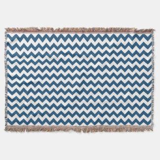 Navy Blue Zigzag Stripes Chevron Pattern Throw
