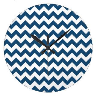 Navy Blue Zigzag Stripes Chevron Pattern Wallclock