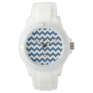 Navy Blue Zigzag Stripes Chevron Pattern Watch