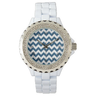 Navy Blue Zigzag Stripes Chevron Pattern Wrist Watches