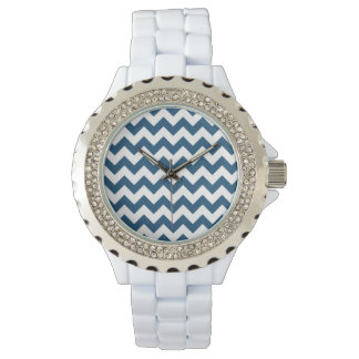Navy Blue Zigzag Stripes Chevron Pattern Wristwatch