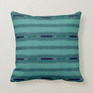 Navy BlueTeal Modern Linear Pattern Throw Pillow