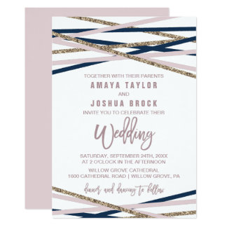 Navy Blush and Gold Streamers Wedding Card