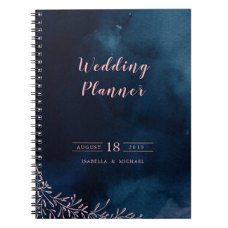 Navy blush calligraphy rustic wedding planner notebooks